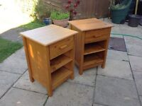 Two wooden bedside units