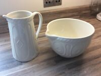 2 matching cream Mason Cash ceramic jugs