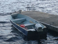14' aluminum boat and 10 hp evinrude outboard