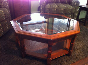 Octagonal Glass Top Maple Coffee Table