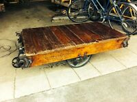 Antique factory truck coffee tables for sale