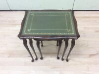 Nest of 3 tables with leather tops and glass inserts