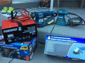 Small power tools, battery charger ,jump cables