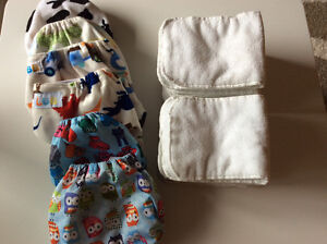 6 diapers + 12 inserts LIKE NEW