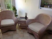Pair of Conservatory Arm Chairs and Coffee Table