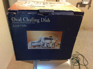Never used chafing dish heated serving dish