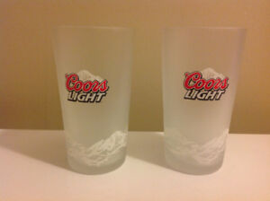 Set of 2 Coors Light Frosted Tumbler Pint Beer Glass 16 oz.