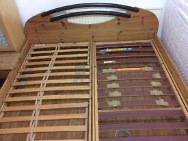 German made solid pine wood super king bed frame + 2 bedside tables