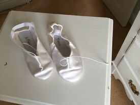 White satin ballet shoes