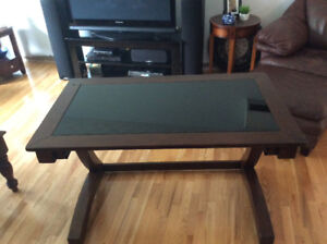 Computer desk with drawer and smoke glass top 48 x28