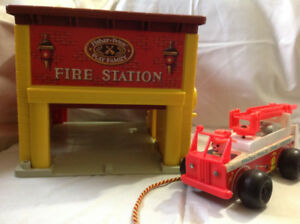 Fisher Price Vintage Fire Station with Engine