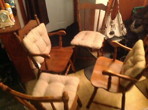 Chairs , dining ,solid maple 4 kitchen chairs all for 50 dollars