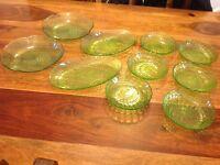 Dessert & Serving dish SET -11 Piece - Green Glass Ware