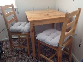Pine Table and two pine chairs for sale