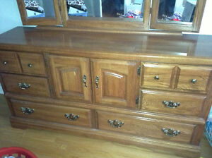 Solid wood long dresser with mirror for sale