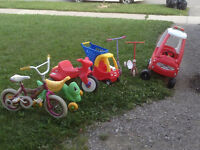 Outdoor toys, bike table worm car scooter