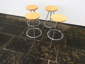 Set of 4 contemporary stools with wooden seats and chrome legs