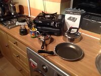 Gas portable stove and camping cooking set.