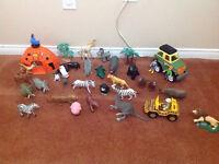 Safari toy lot and playmobile  jungle puzzle