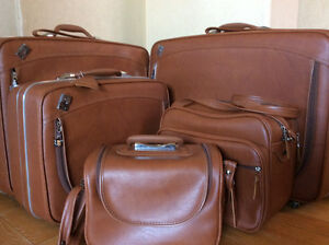 Vintage Leather Luggage Set (5 pcs - 2 large one with wheels)