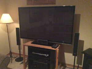 """60"""" 3D Plasma TV with pine stand"""