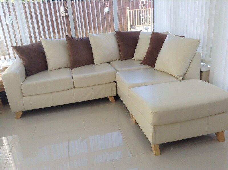 Lovely Cream Leather Corner Sofa