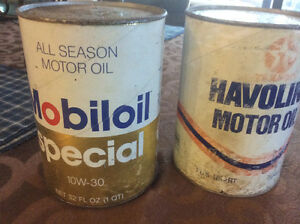 Old full oil cans