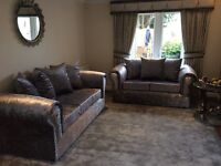New Crushed Velvet 3 + 2 Sofa Couch Settee