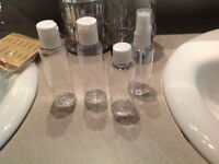 Clear plastic travel bottles 1$ for all four
