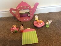 Wooden teapot fairy dolls house with accessories