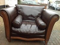 Huge Brown Leather Arm Chair