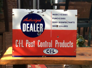 Antique porcelain C-I-L-PEST CONTROL PRODUCTS DEALER sign !