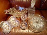 Stunning crystal glassware: decanter, cake stand, vases, bowls, serving dish, brandy & port glasses