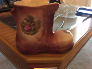 Staffordshire England  good size flower boot  pinkish brown nice