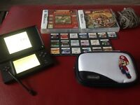 Nintendo ds lite black with 21 games
