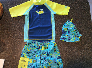 Boys 2T UV SKINZ 3Pc Bathing suit