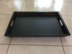 black wooden solid serving tray to serve guest or breakfast