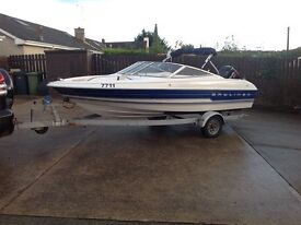 18ft Bayliner speed boat 90hp mercury outboard and trailer