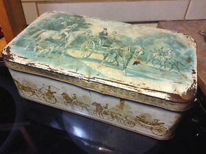 box vintage Tin lithographed décor carriage and horses