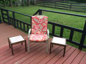 pair of wood w/ tile indoor or outdoor side tables