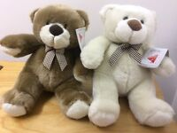 Lelly Italian 22cm Teddy Bear with Bow neck tie Plush Toy White or Brown New with Tags