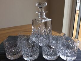 Crystal whiskey decanter and glasses