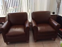 2 No. Analine leather Armchairs