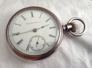 Rare Antique big sterling silver Elgin pocket watch