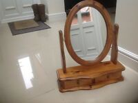 Pine vanity mirror with drawer