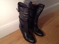 Russell and Bromley black leather ladies boots. Size 38/5