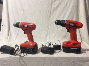 Two Black & Decker Cordless Drills with Chargers