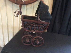 VICTORIAN  BABY DOLL CARRIAGE BUGGY ORNATE WICKER METAL SCROLL