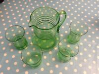 Green glass jug and 4 matching glasses - new