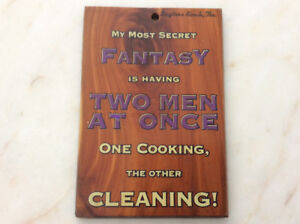 Vintage feminist humorous wooden wall hanging